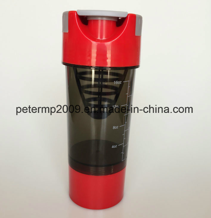 PP Material Leak-Proof BPA Free Protein Power Plastic Shaker with 3 Layers