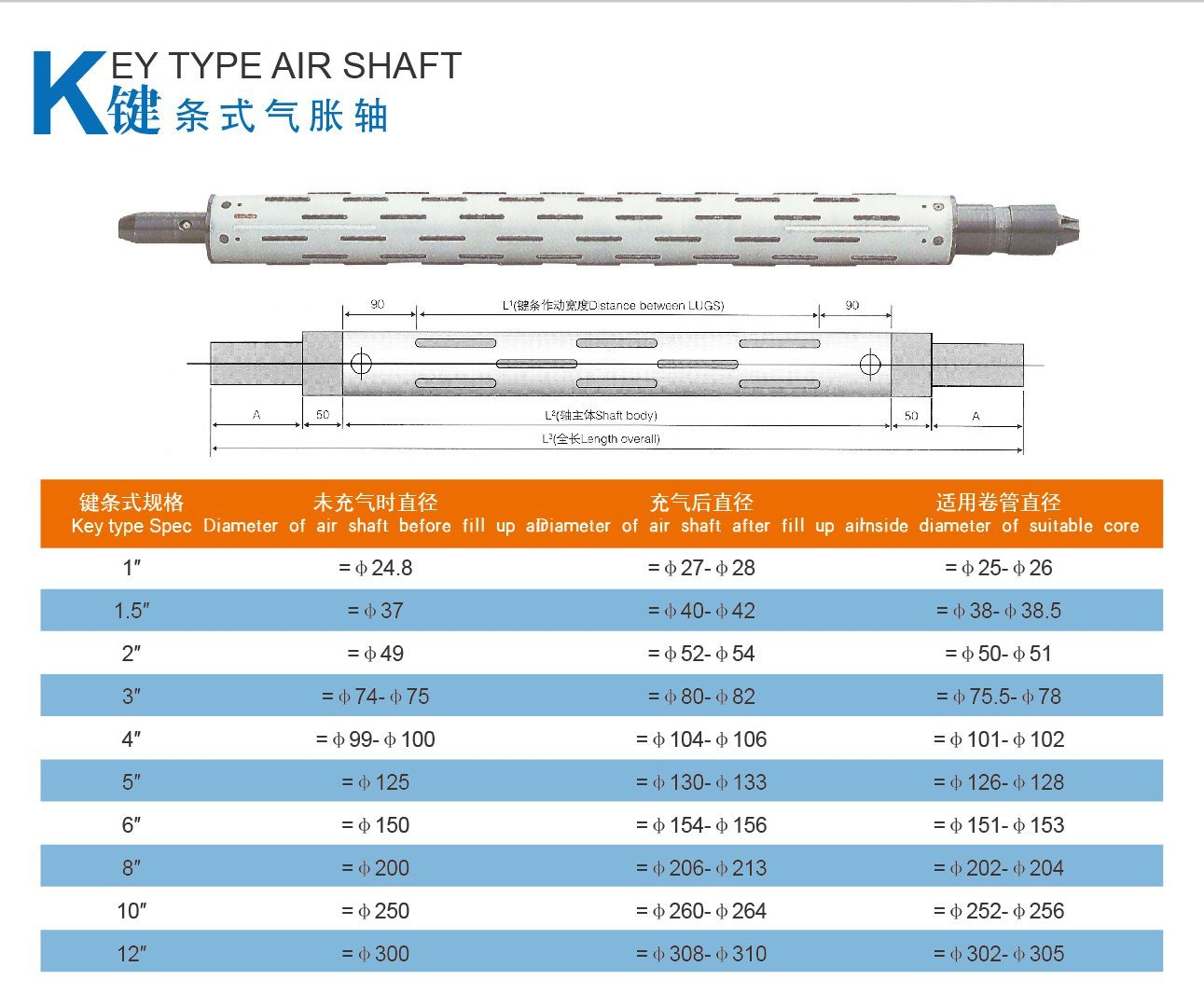 Key Type Air Shaft 12′′ for Printing Machine