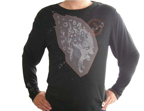 100% Cotton Man T-Shirt with Long Sleeve in Applique or Printing for OEM