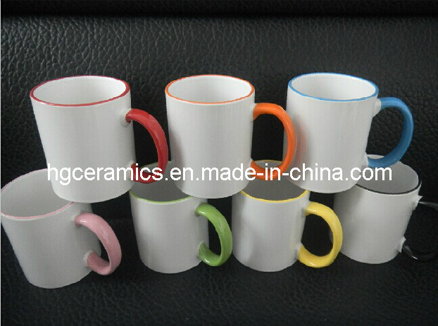 11oz Color Rim&Handle Mug Sublimation Coated