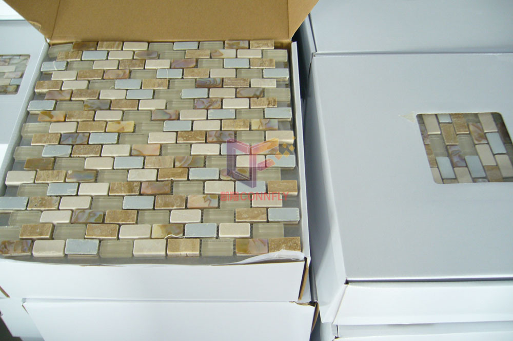 Beige Travertine Mix Shell, Metal and Crystal Mosaic Tile for Wall Decoration (CFP070)