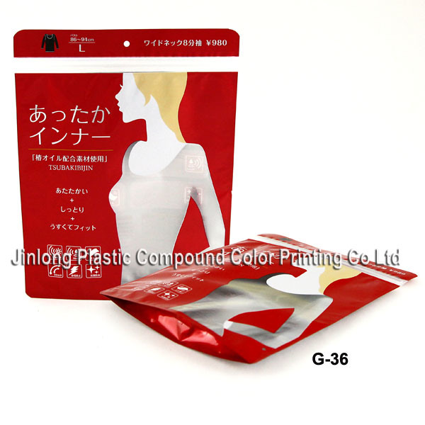 Stand up Plastic Garment Packaging Zipper Bag with Hanger