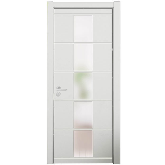 China modern white lacquer middle glass bedroom wood door photos pictures made in - Interior bedroom glass doors ...