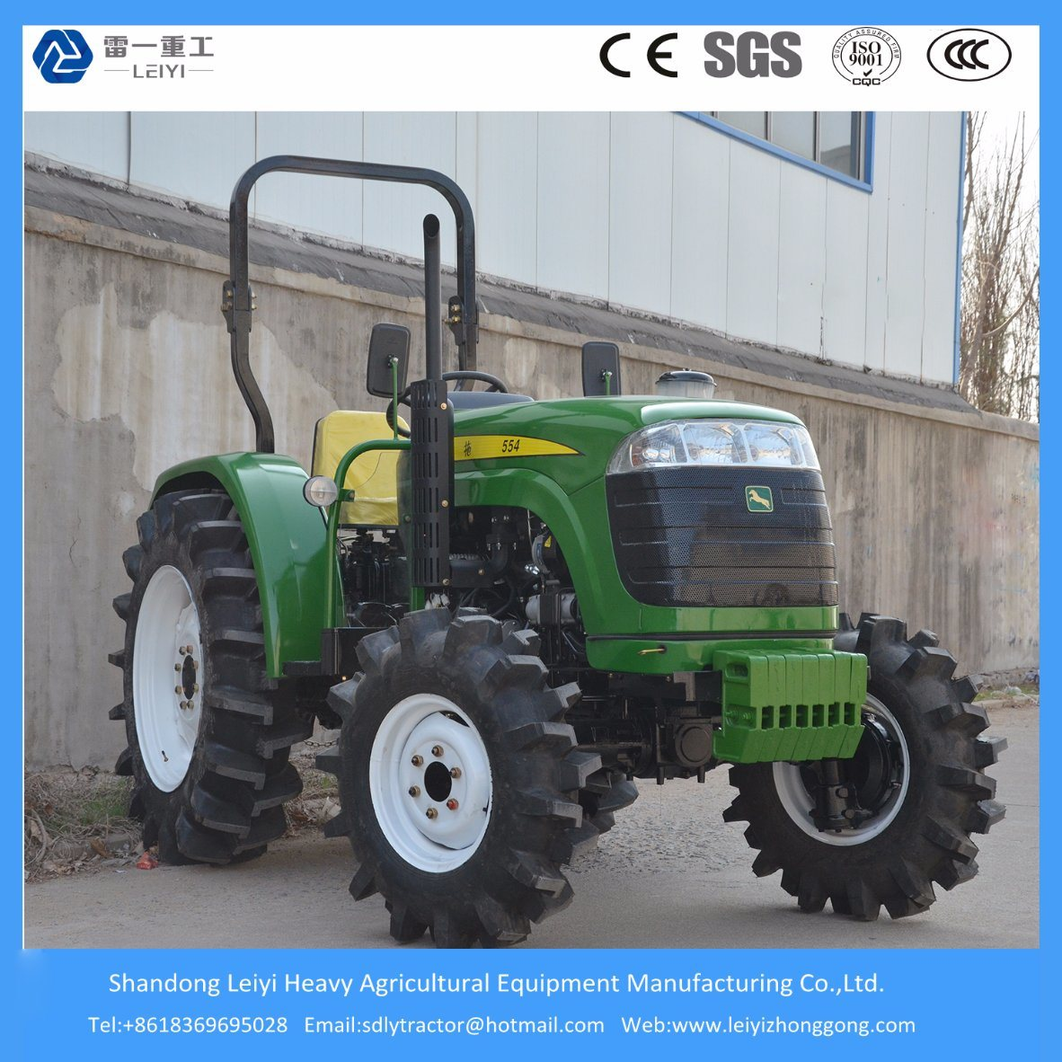 55HP 4WD Agricultural Farm Tractor with Diesel Engine Kubota Type