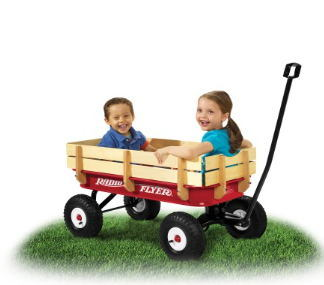Four Wheel Wooden Wagon Tool Cart for 1-2 Years Baby