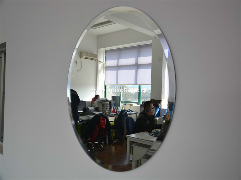 6mm Oval Clear Silver Coated Bathroom Frame Mirror/Safety Mirror with Beveled Edges
