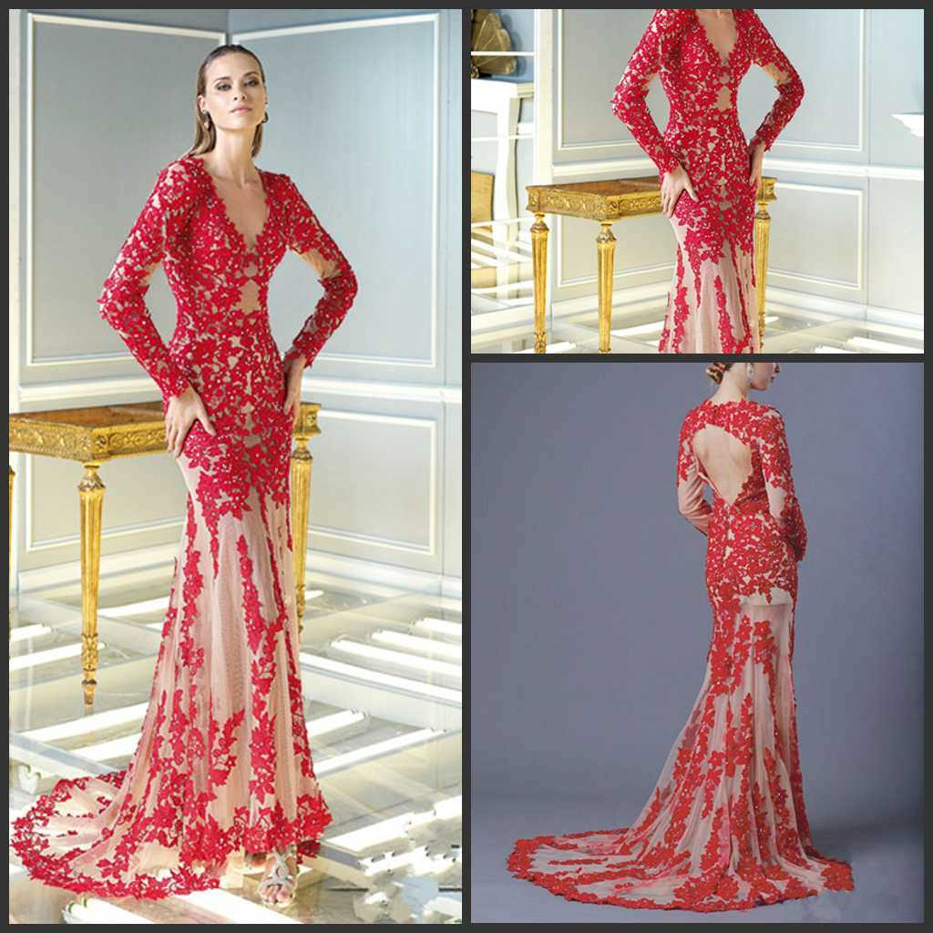 China 2015 prom gowns full sleeve red lace evening dress for Cocktail dress with sleeves for wedding