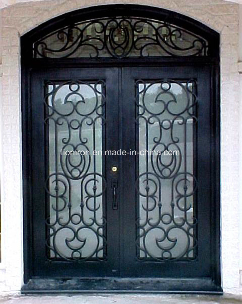 Gorgeous Design Wrought Iron Entry Door with Operable Glass