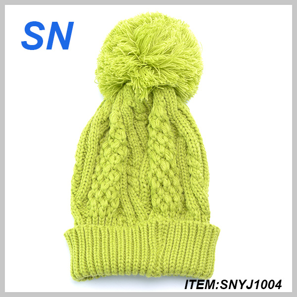Winter Crochet Acrylic Green Hat for Women