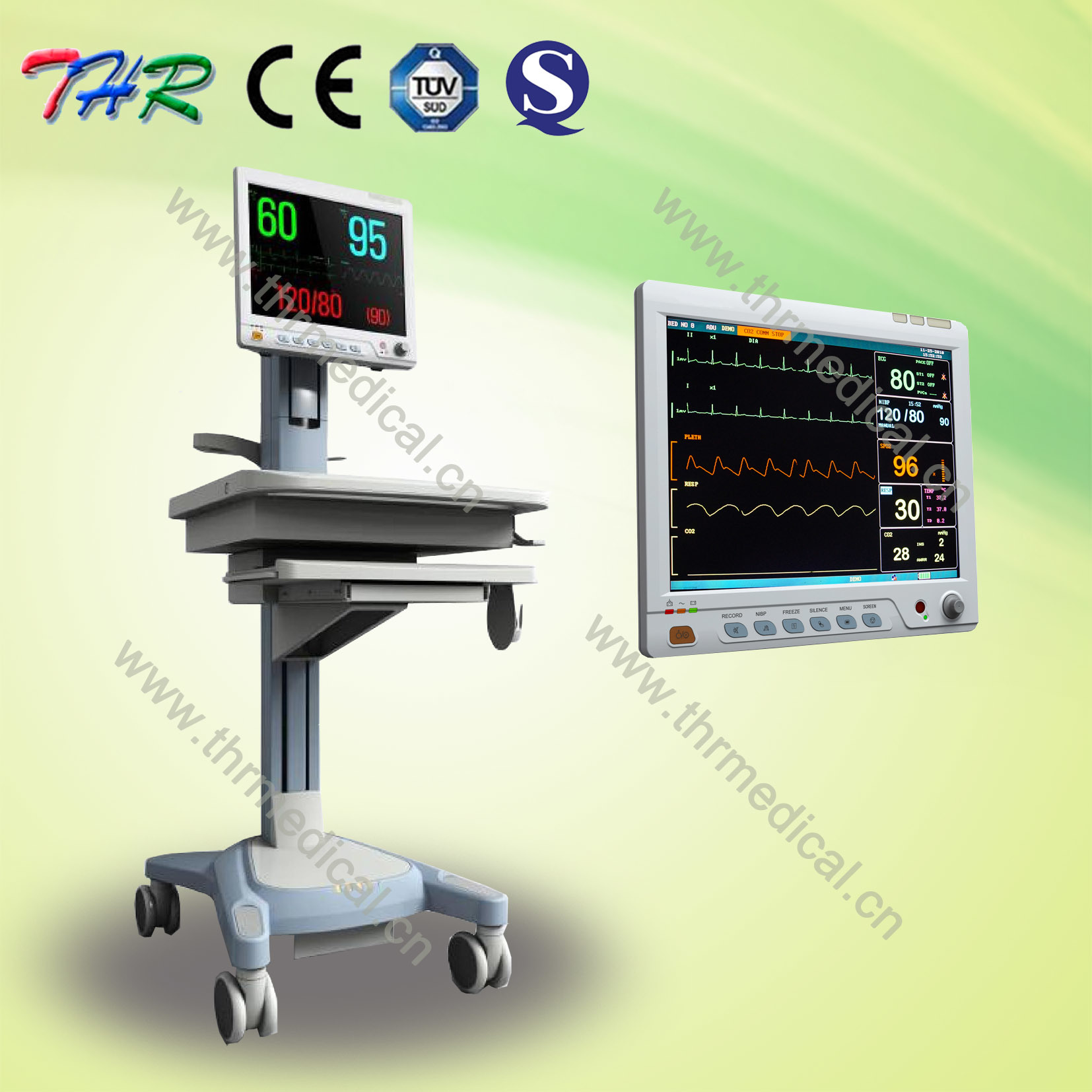 High Quality New 15 Inch Touch Screen! Multi-Parameter Patient Monitor