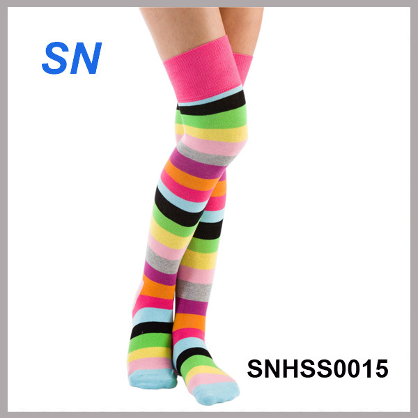 2015 Winter Fashion Thigh High Rainbow Socks for Ladies