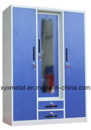 Indian New Design Furniture 3 Door Iron Wardrobe with Mirror