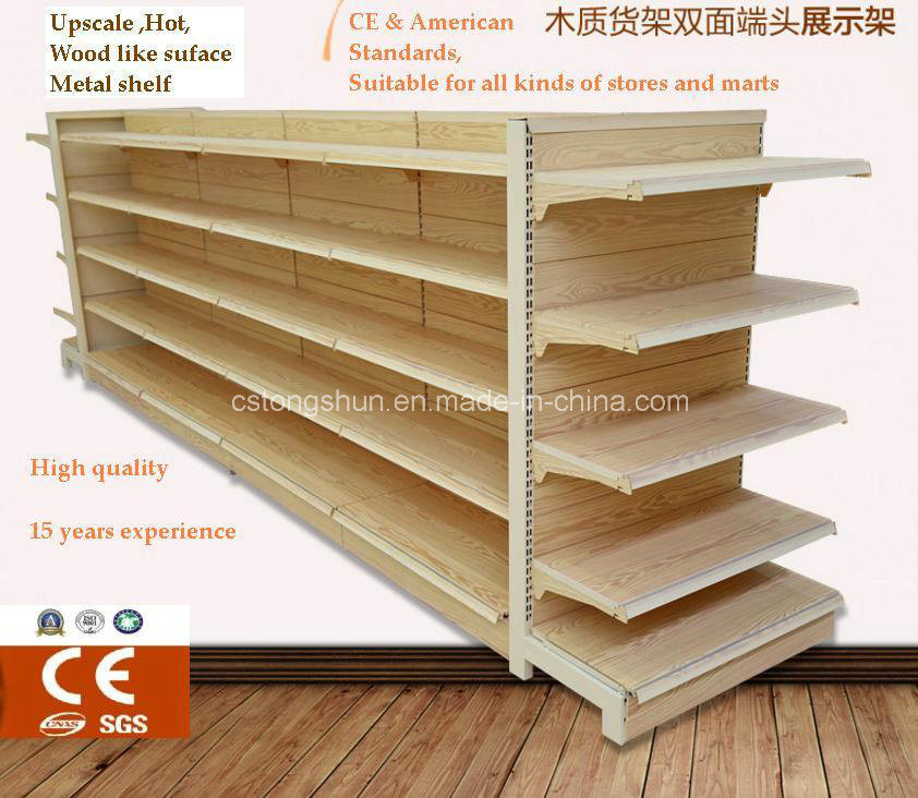 Hot Ce Standard Supermarket Gondola Metal Furniture Shelf with Wood Surface