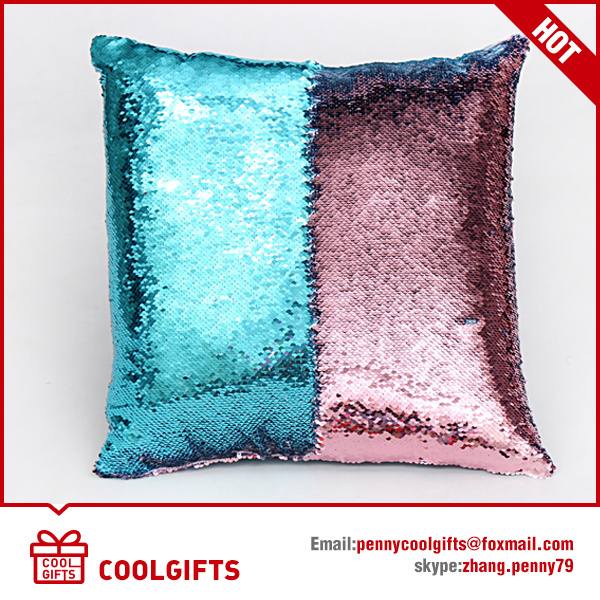 2017 Hot Sell Embroidered Sequin Pillowcase, Color Changing Sofa Pillow