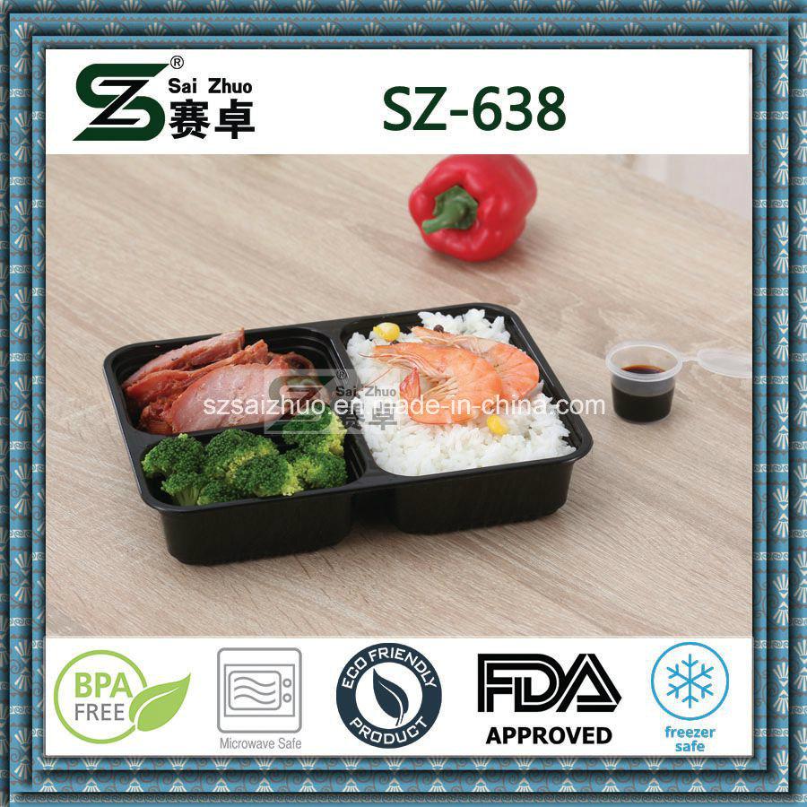 Top Grade Square 3compartment Disposable Plastic Food Container