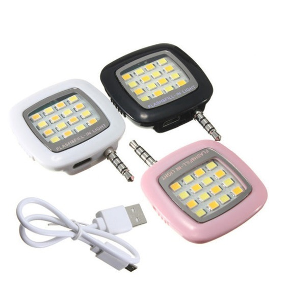 Portable Mini 16 LED Selfie Light Enhancing Dimmable Cellphone Camera Flash Fill-in Light