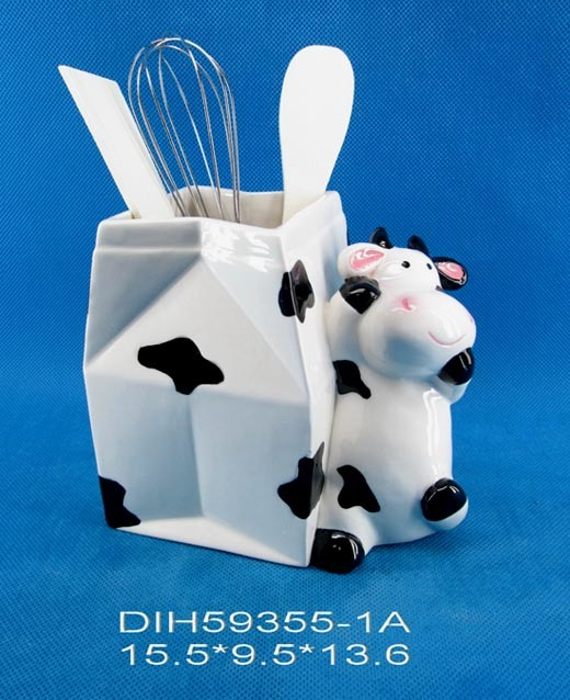 Ceramic Cow Utensil Holder for Home/Kitchen Decoration