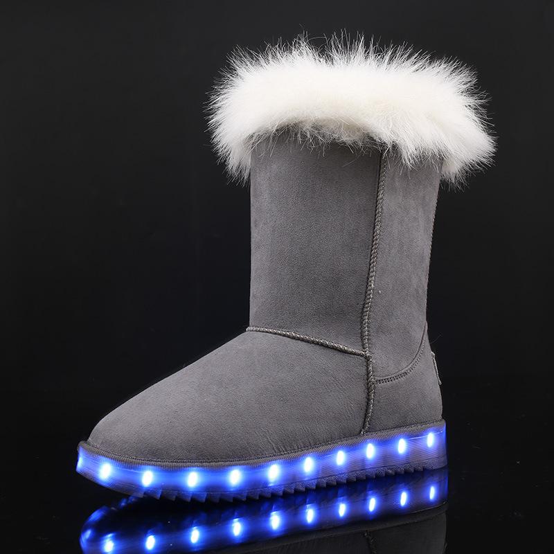 New Fashion Lady Shoe LED Light Shoe USB Charging Shoe Warm Winter Snow Boot