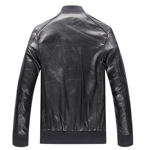 New Fashion Winter European Style Stand Collar Zip Cuffs Men Burgundy Biker Genuine Leather Jacket