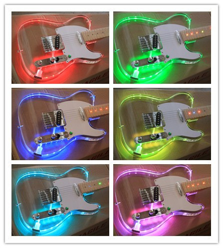 Hanhai Music/Acrylic Tele Style Electric Guitar with Colorful LED Lights