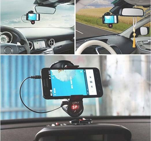 Hands-Free Car MP3 Player FM Transmitter with Navigation Clamp Bracket