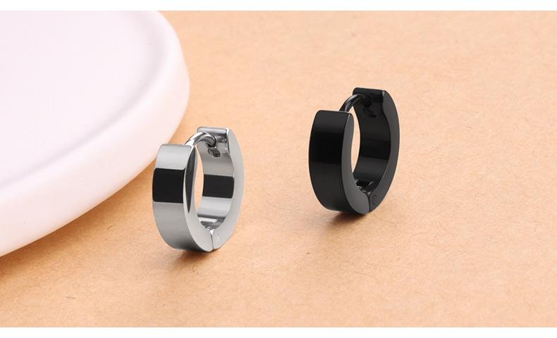 Fashion Stainless Steel Jewelry Black Hoop Earring