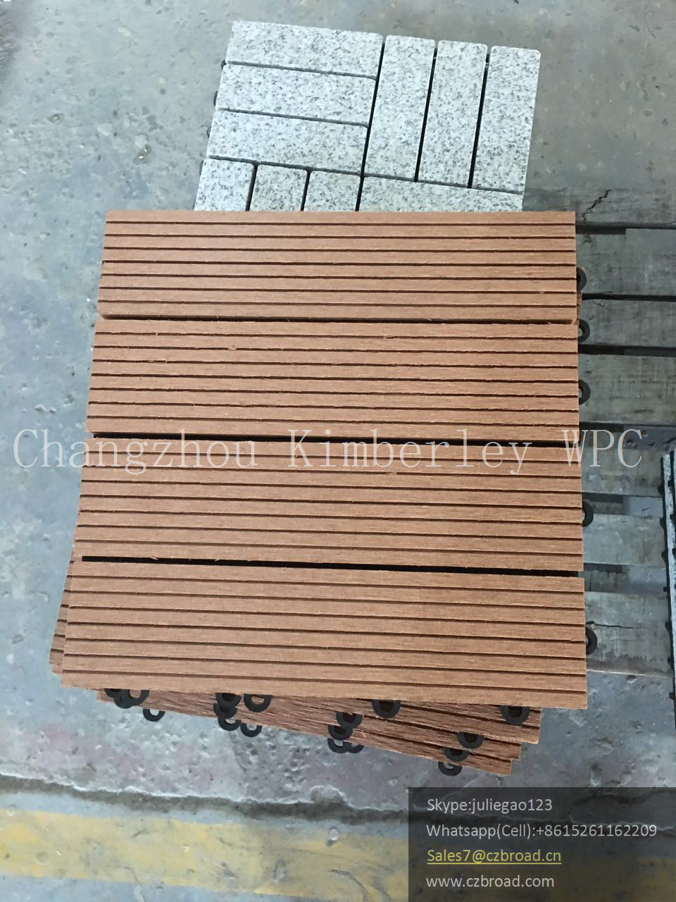 Wood PE Easy Assemble Outdoor Tile Floor