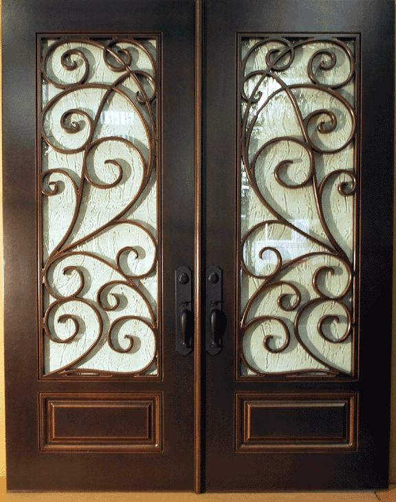 Square Top Wrought Iron Entry Door with Kick-Plate