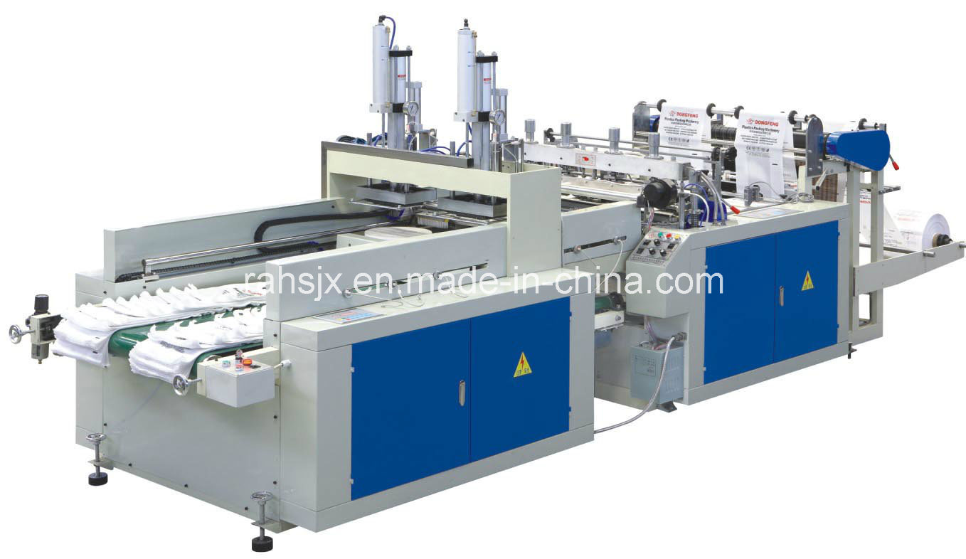 Full Automatic Double Lines Heat Cutting T-Shirt Bag Machine