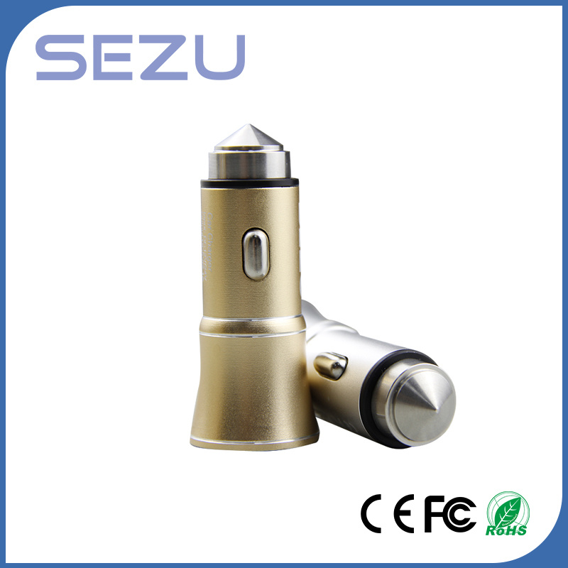 Wholesale 5V 3.1A Dual USB Portable Metal Car Charger for iPhone and Samsung