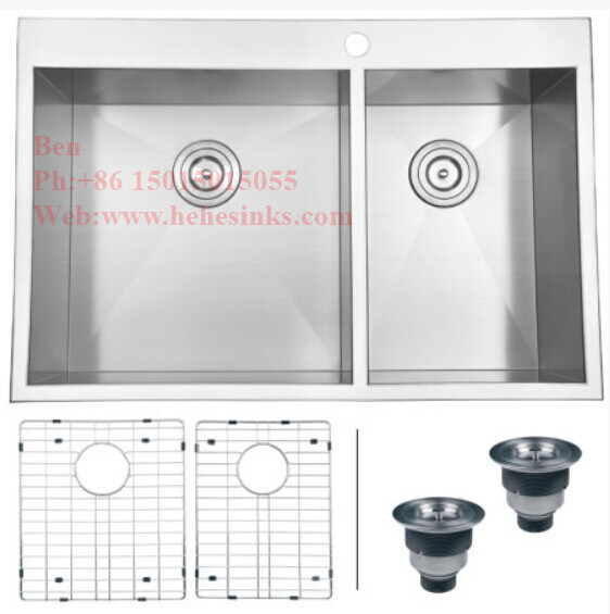 32X20 Inch Stainless Steel Top Mount Equal Double Bowl Handmade Kitchen Sink