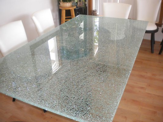 China Toughened Ice Cracked Glass Table Top With AS/NZS2208: 1996, BS6206,  En12150 Certificate   China Ice Cracked Table Top, Modern Dining Table