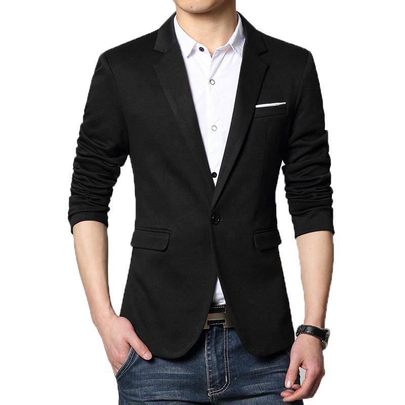 Casual Blazer Men High Quality Blaser Fashion Cotton Suit Blazer