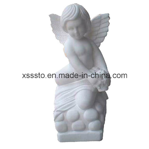 Crafted White Marble Natural Stone Sculpture Child Angle