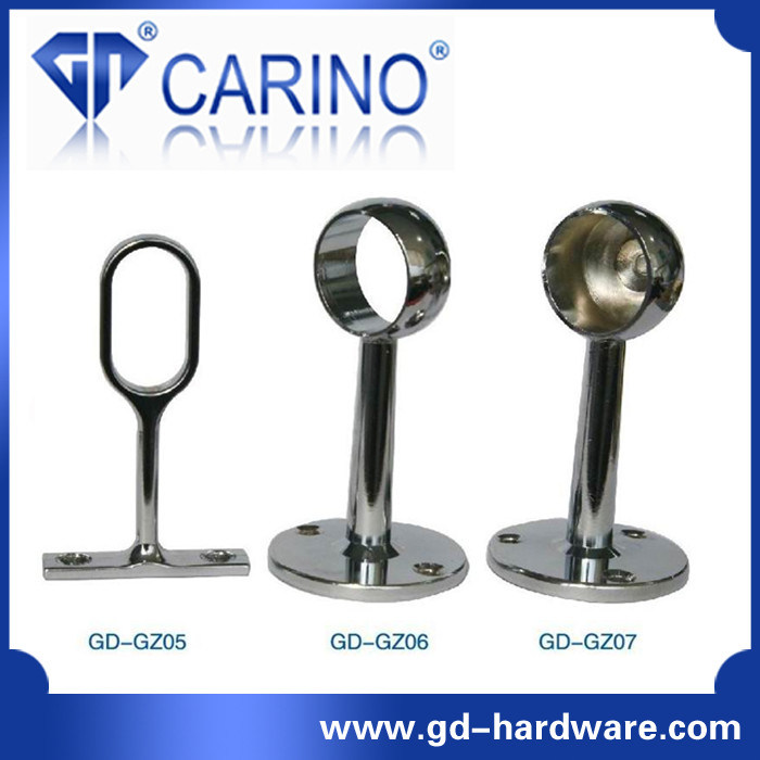 Closet Wardrobe Tube Rail Circular Flange Hanger; Iron or Zinc Alloy Tube Base Plate *Iron Holder