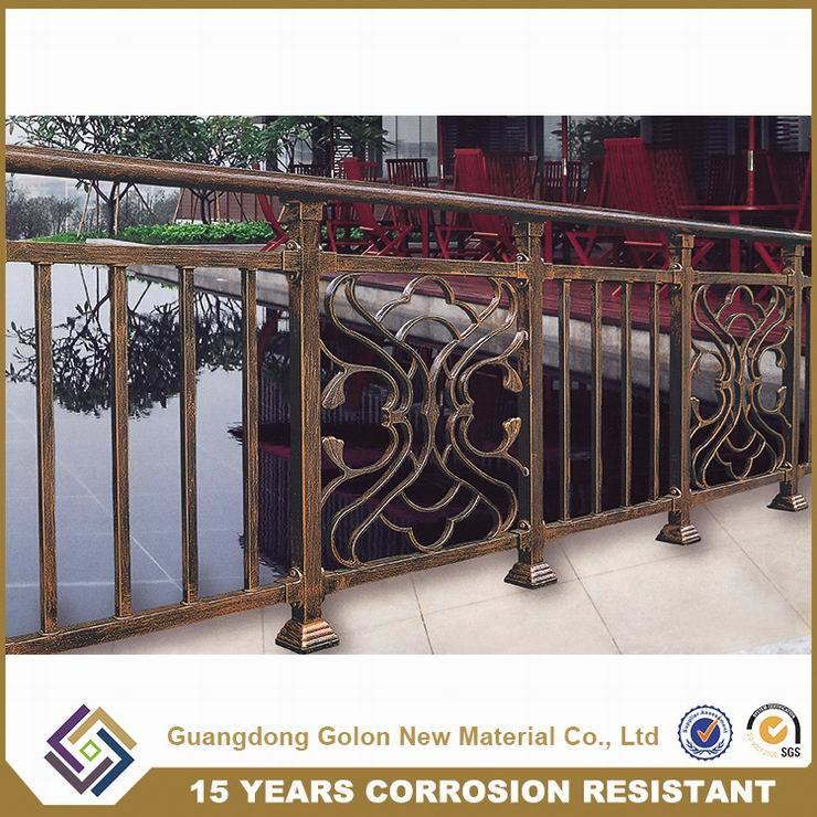Security No Welding Galvanized Steel Bronze-Coloured Tubular Balcony Railing