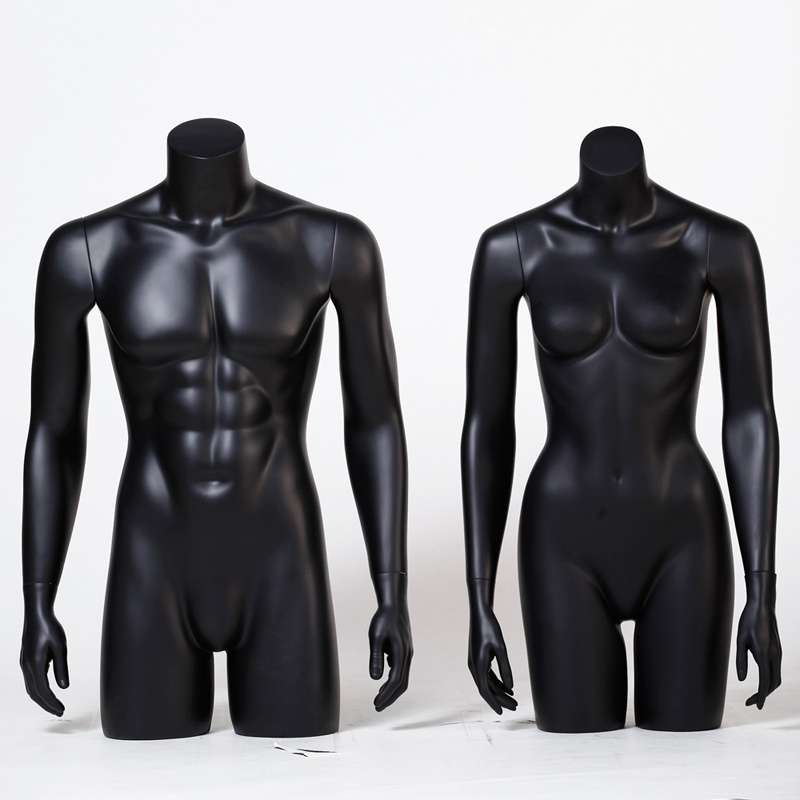 Matte Black Half Body Male Mannequin for Sale
