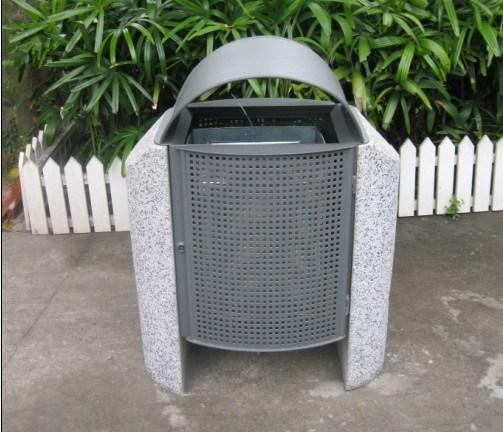 시멘트 돌 지원 (A-004)를 가진 옥외 금속 쓰레기통 – 시멘트 돌 ...