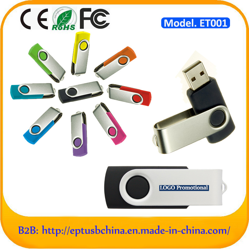 Cheapest Plastic USB Flash Drive with Metal Clip Swivel USB Stick
