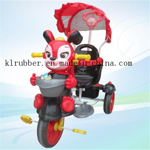 Cartoon Ride Children Tricycle Toy with Music and Canopy