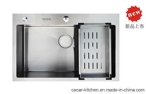 Cacar Modern Hand-Made Water Groove Kitchen Sink (SC7247A)