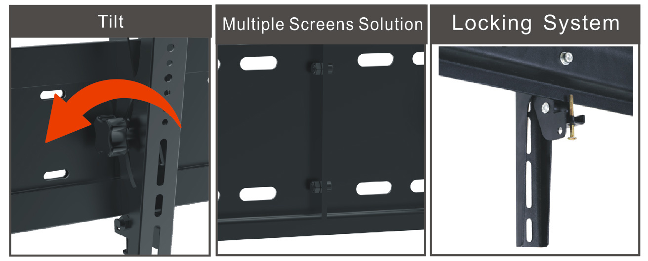 "Video Wall Mount Menu Board Tilt 3-Screen 30-60"" Vesa Max. 800*400 (AWM 300)"