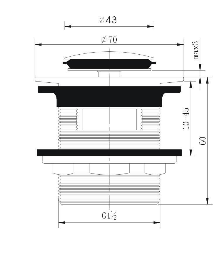 Popular Bathroom Fitting Pop-up Brass Basin Drain (Slotted)