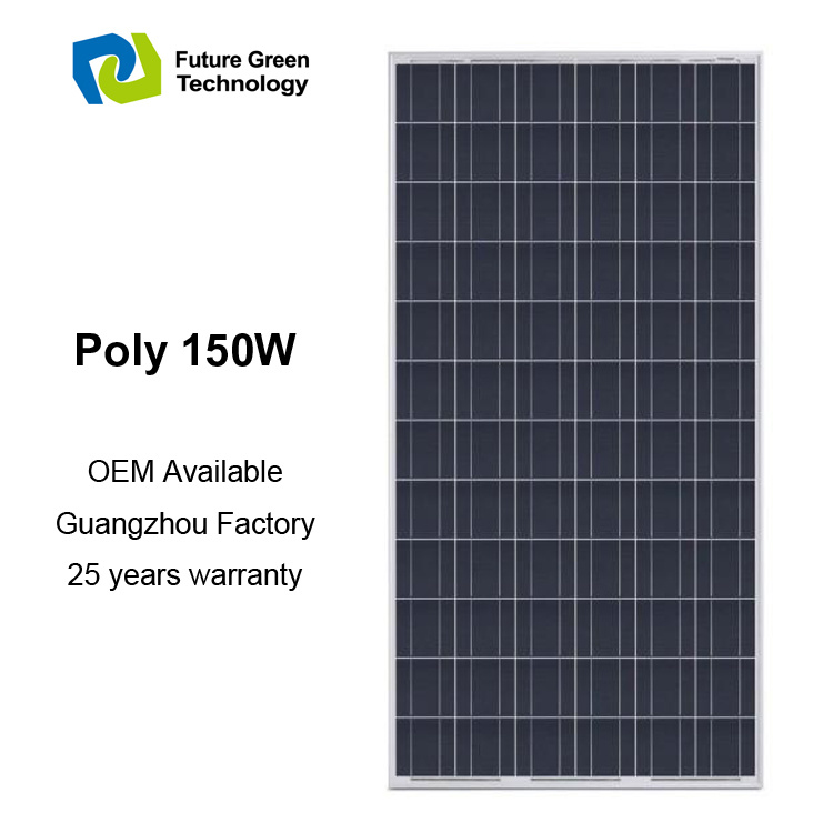 150W Renewable Power Photovoltaic Poly Solar Cell Panel