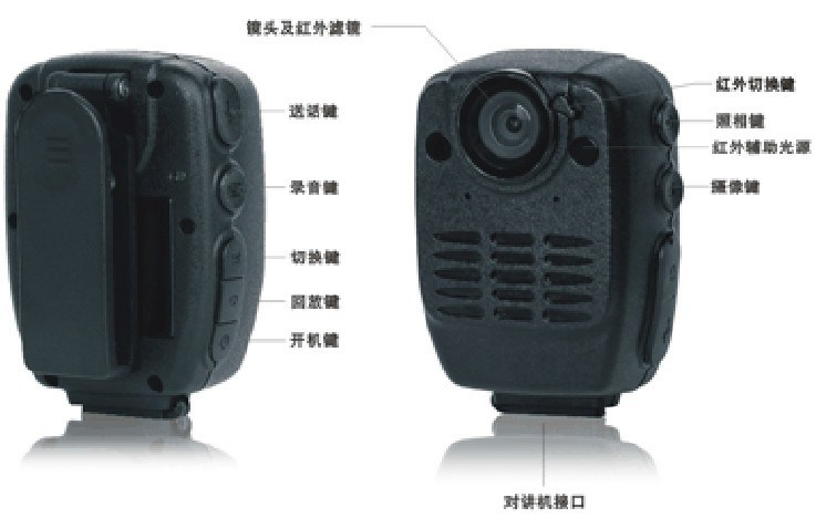 Portable Handheld Police Interphone/Walkie Talkie with Recorder