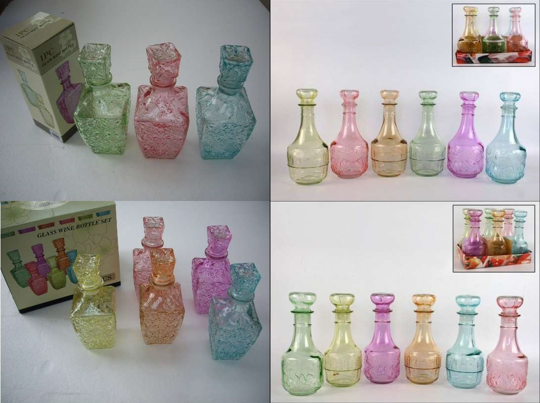 Colored Glass Wine Bottles, 250ml, 500ml, 1000ml