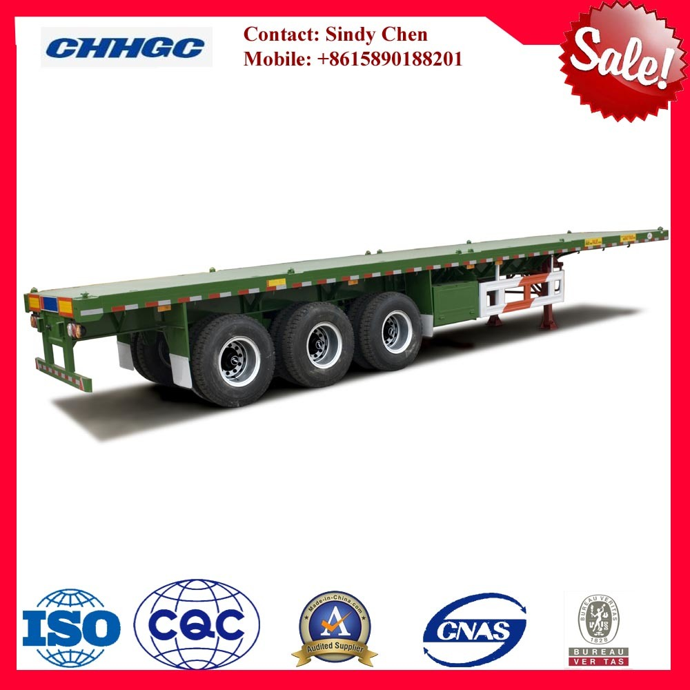 Tri-Axle Flatbed Semi Trailer / 40ft Container Trailer for Sale