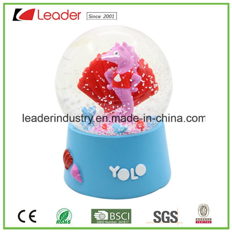 Polyresin Customized Seahorse Lady Snow Globe for Souvenir Collection, Make Your Own Design