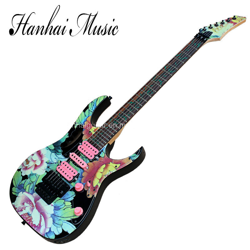 Hanhai Music / Beautiful Electric Guitar with Peony Pattern