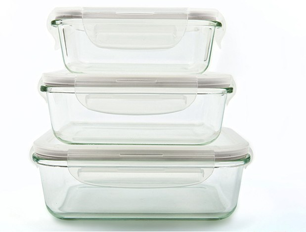 Rectangular Airtight Borosilicate Glass Food Container Set